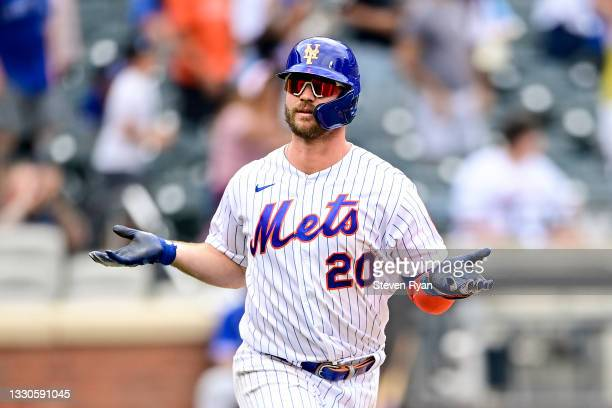 Pete Alonso of the New York Mets celebrates after hitting a two-run home run against the Toronto Blue Jays during the sixth inning at Citi Field on...