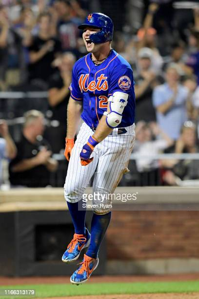 Pete Alonso of the New York Mets celebrates his seventh inning home run against the Miami Marlins at Citi Field on August 05 2019 in New York City