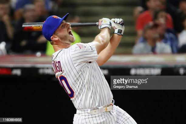 Pete Alonso of the New York Mets competes in the TMobile Home Run Derby at Progressive Field on July 08 2019 in Cleveland Ohio