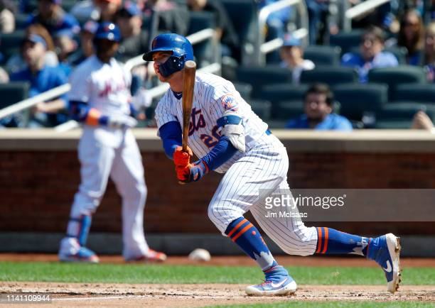Pete Alonso of the New York Mets doubles in the third inning against the Washington Nationals at Citi Field on April 06 2019 in the Flushing...