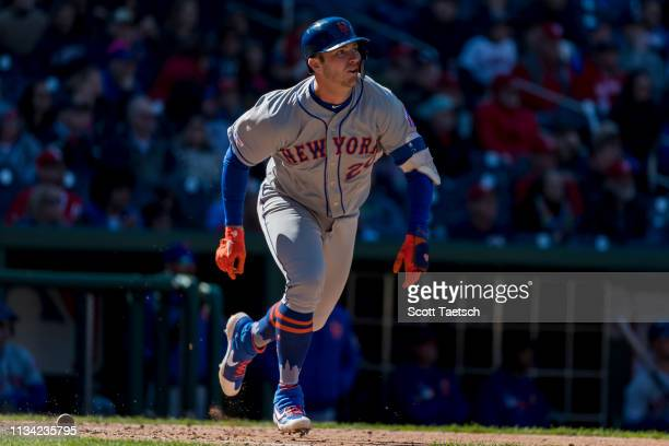 Pete Alonso of the New York Mets flies out against the Washington Nationals during the seventh inning at Nationals Park on March 31 2019 in...