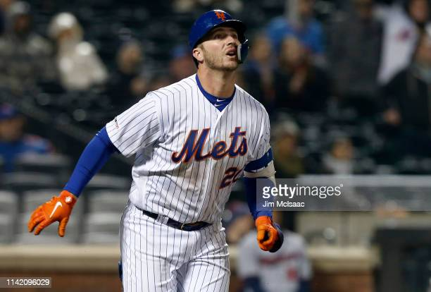 Pete Alonso of the New York Mets follows through on a home run against the Minnesota Twins at Citi Field on April 09 2019 in the Flushing...