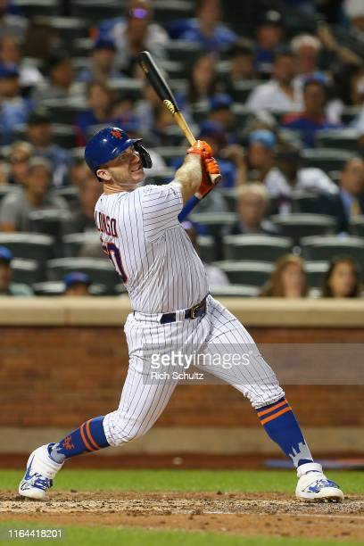 Pete Alonso of the New York Mets hits a home run against the Chicago Cubs during the fourth inning of a game at Citi Field on August 27 2019 in New...