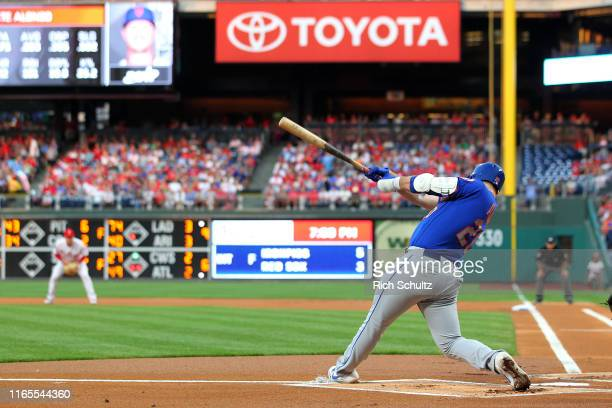 Pete Alonso of the New York Mets hits a home run against the Philadelphia Phillies during the first inning of a game at Citizens Bank Park on...