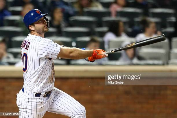 Pete Alonso of the New York Mets hits a home run in the sixth inning against the Miami Marlins at Citi Field on May 11 2019 in New York City