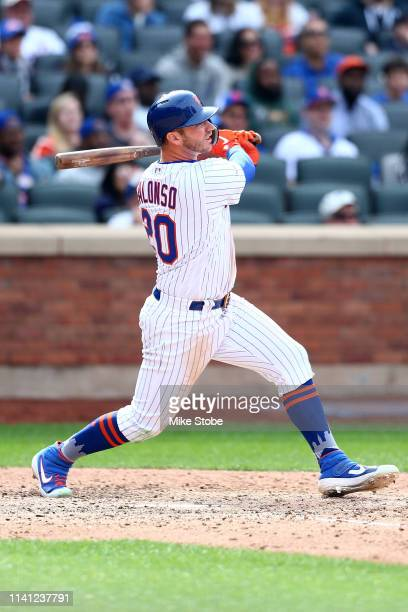 Pete Alonso of the New York Mets hits1 a three run home run in the seventh inning against the Washington Nationals at Citi Field on April 07 2019 in...