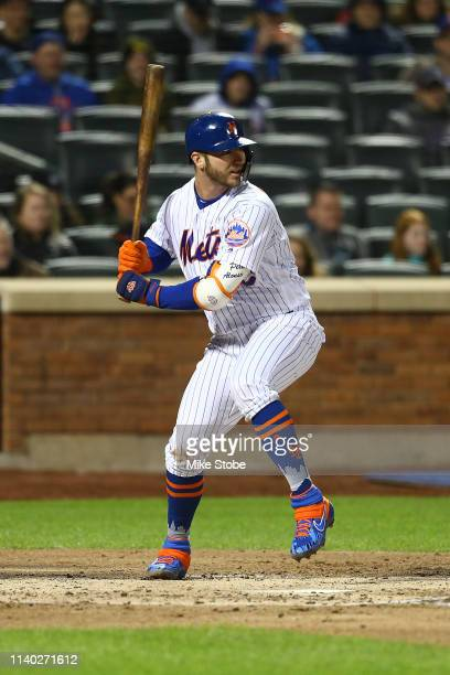 Pete Alonso of the New York Mets in action against the Milwaukee Brewers at Citi Field on April 27 2019 in New York City Milwaukee Brewers defeated...