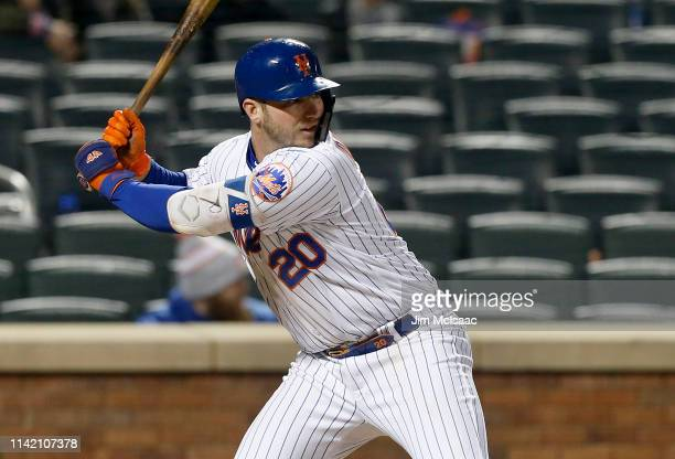 Pete Alonso of the New York Mets in action against the Minnesota Twins at Citi Field on April 09 2019 in the Flushing neighborhood of the Queens...