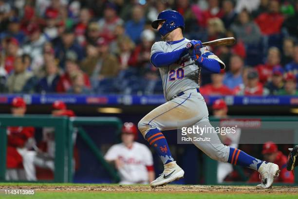 Pete Alonso of the New York Mets in action against the Philadelphia Phillies during a game at Citizens Bank Park on April 16 2019 in Philadelphia...