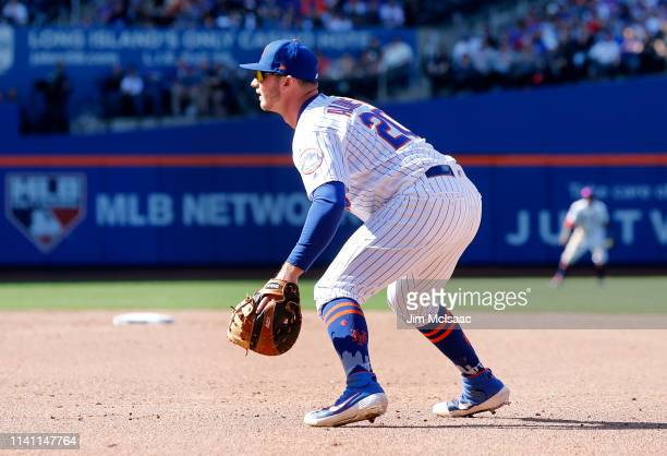 Pete Alonso of the New York Mets in action against the Washington Nationals at Citi Field on April 06 2019 in the Flushing neighborhood of the Queens...