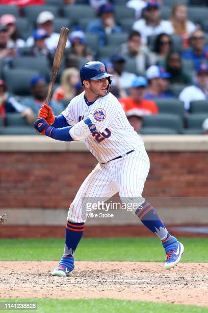 Pete Alonso of the New York Mets in action against the Washington Nationals at Citi Field on April 07 2019 in New York City Washington Nationals...