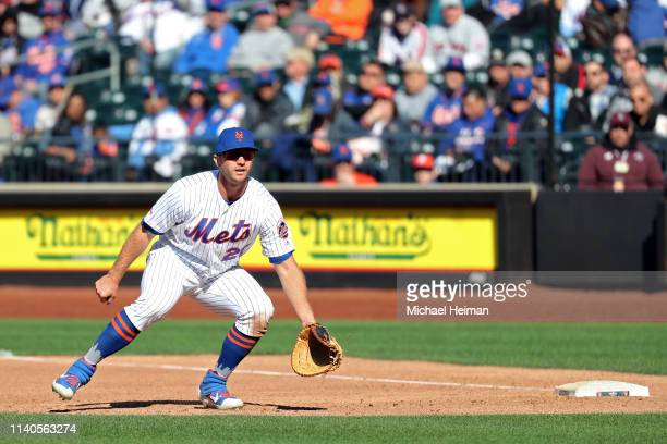 Pete Alonso of the New York Mets plays first base against the Washington Nationals on April 04 2019 during the Mets home opener at Citi Field in the...