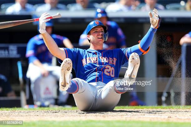 Pete Alonso of the New York Mets reacts after being called out on strikes in the top of the seventh inning against the New York Yankees at Yankee...
