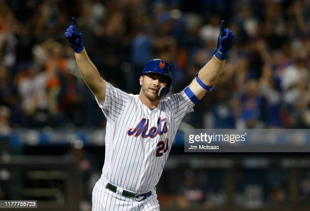 Pete Alonso of the New York Mets reacts after his third inning home run against the Atlanta Braves at Citi Field on September 28 2019 in New York...