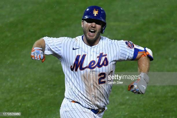 Pete Alonso of the New York Mets reacts after hitting a two-run walk-off home run during the tenth inning against the New York Yankees at Citi Field...