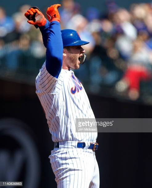 Pete Alonso of the New York Mets reacts at second base after his third inning double against the Washington Nationals at Citi Field on April 06 2019...