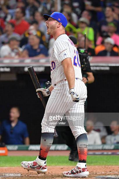 Pete Alonso of the New York Mets reacts during the TMobile Home Run Derby at Progressive Field on July 08 2019 in Cleveland Ohio