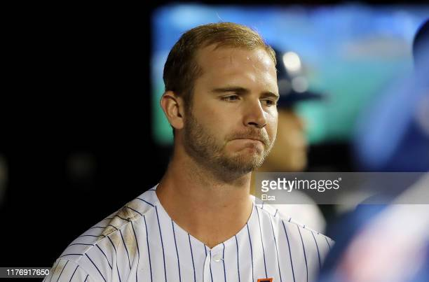 Pete Alonso of the New York Mets reacts in the dugout after he struck out swinging in the eighth inning against the Miami Marlins at Citi Field on...