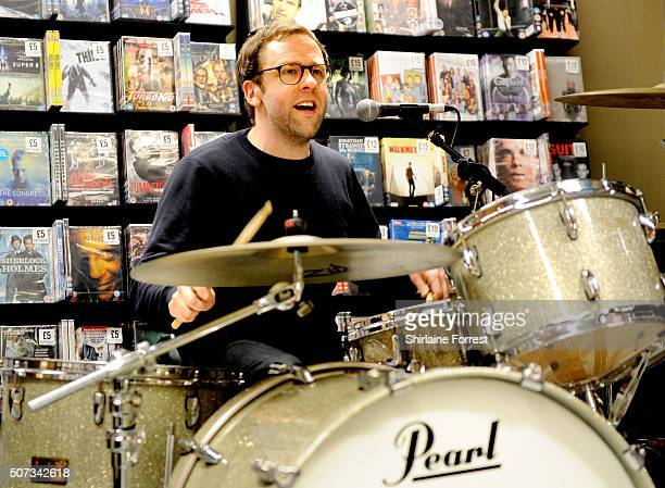 Pete Baker of Younghusband performs live and signs copies of their new album 'Dissolver' at Fopp on January 28 2016 in Manchester England