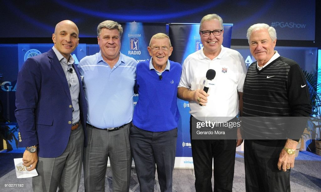 Pete Bevacqua, Hal Sutton, Lou Holtz, Ron Jaworski and Dave Stockton on the SiriusXM Town Hall at the PGA Merchandise Show on January 25, 2018 in Orlando, Florida.