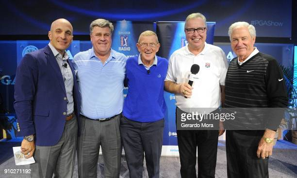 Pete Bevacqua, Hal Sutton, Lou Holtz, Ron Jaworski and Dave Stockton on the SiriusXM Town Hall at the PGA Merchandise Show on January 25, 2018 in...