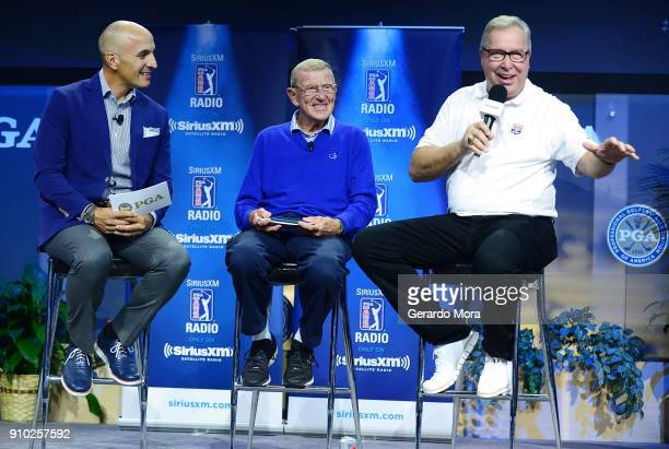 Pete Bevacqua, Lou Holtz and Ron Jaworski on the SiriusXM Town Hall at the PGA Merchandise Show on January 25, 2018 in Orlando, Florida.