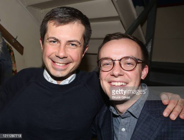Pete Buttigieg and husband Chasten Buttigieg pose backstage at the hit play The Inhertance on Broadway at The Barrymore Theatre on March 8 2020 in...