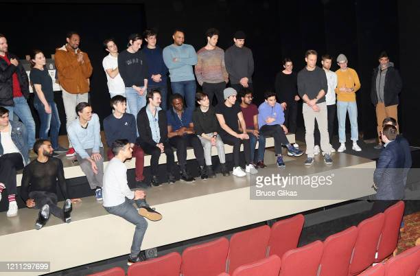 Pete Buttigieg and husband Chasten Buttigieg speak with the cast and company backstage at the hit play The Inhertance on Broadway at The Barrymore...