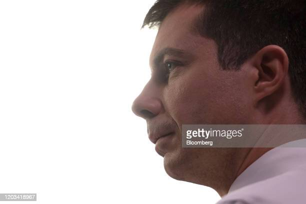Pete Buttigieg former mayor of South Bend and 2020 presidential candidate speaks to a member of the media following the Democratic presidential...