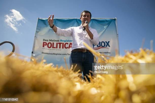 Pete Buttigieg mayor of South Bend and 2020 presidential candidate speaks at the Des Moines Register Soapbox during the Iowa State Fair in Des Moines...