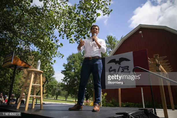 Pete Buttigieg mayor of South Bend and 2020 presidential candidate speaks during a town hall event at the Cedar County Fairgrounds in Tipton Iowa US...