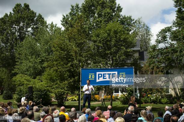 Pete Buttigieg mayor of South Bend and 2020 presidential candidate speaks during a campaign event in Muscatine Iowa US on Wednesday Aug 14 2019...