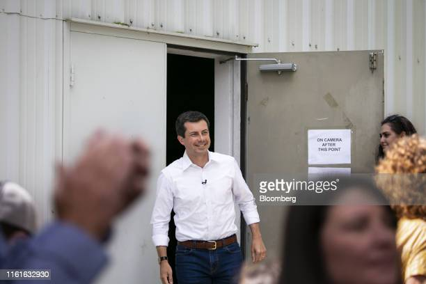 Pete Buttigieg mayor of South Bend and 2020 presidential candidate arrives to speak during a town hall event at the Cedar County Fairgrounds in...