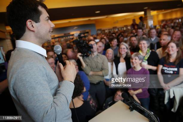 Pete Buttigieg mayor of South Bend IN addresses the crowd at Gibson's Bookstore in Concord NH on April 6 2019 Buttigieg recently launched a...
