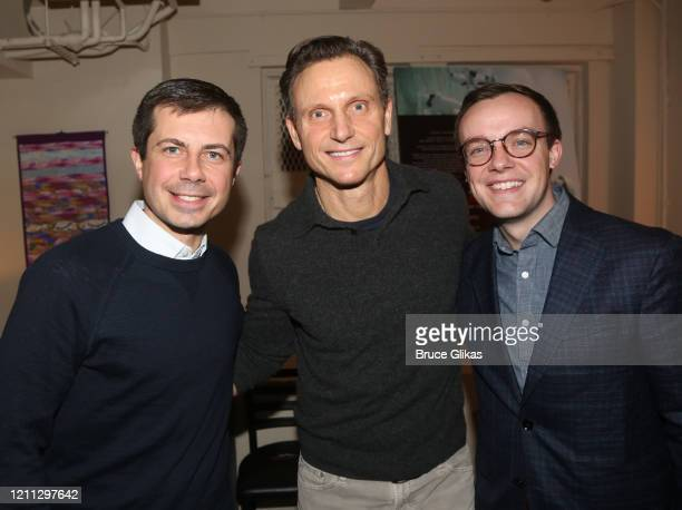 Pete Buttigieg Tony Goldwyn and Chasten Buttigieg pose backstage at the hit play The Inhertance on Broadway at The Barrymore Theatre on March 8 2020...