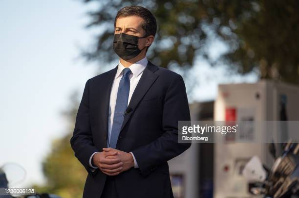 Pete Buttigieg, U.S. Secretary of transportation, listens as Gina McCarthy, White House national climate advisor, not pictured, speaks during an...