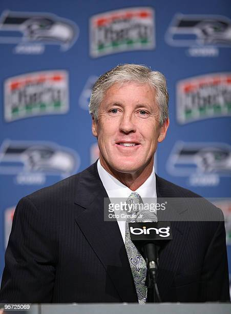 Pete Carroll answers questions at a press conference announcing his hiring as the new head coach of the Seattle Seahawks on January 12, 2010 at the...