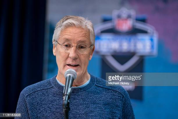 Pete Carroll head coach of the Seattle Seahawks is seen at the 2019 NFL Combine at Lucas Oil Stadium on February 28 2019 in Indianapolis Indiana