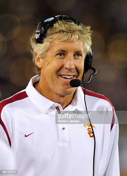 Pete Carroll head coach of the USC Trojans during the game against the Oregon Ducks on October 4 2008 at the Los Angeles Memorial Coliseum in Los...