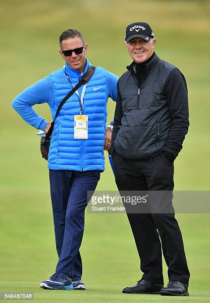 Pete Cowen and Sean Foley look on during previews ahead of the 145th Open Championship at Royal Troon on July 12 2016 in Troon Scotland