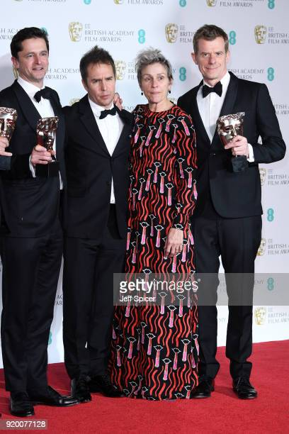 Pete Czernin and Graham Broadbent winners of the Outstanding British Film award Sam Rockwell winnerof the Best Supporting Actor award and Frances...