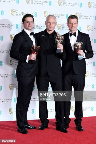 Pete Czernin Martin McDonagh and Graham Broadbent winner of the Outstanding British Film award pose in the press room during the EE British Academy...