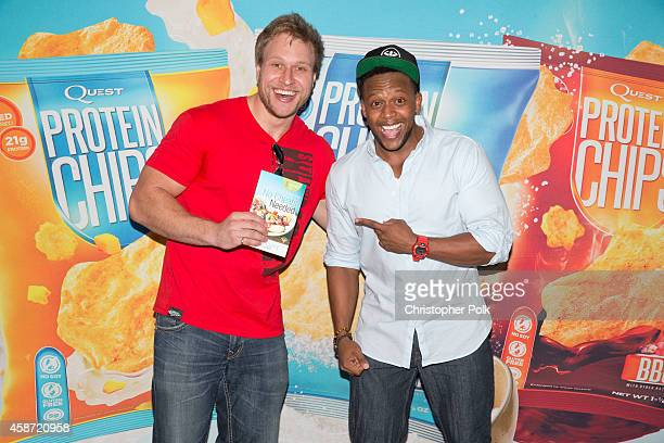 Pete Czerwinski and Kevin Curry attend the Quest Nutrition 'Beyond The Bar' Protein Powder Release Celebration at Smogshoppe on November 9 2014 in...