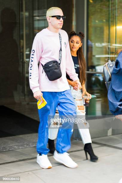 Pete Davidson and Ariana Grande are seen in Chelsea on July 11 2018 in New York City