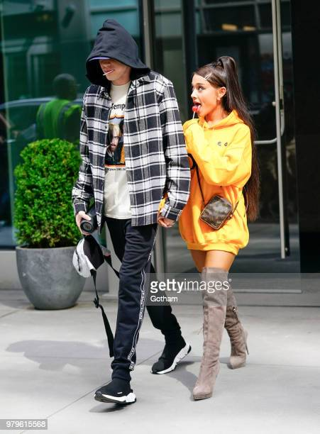 Pete Davidson and Ariana Grande are seen on June 20, 2018 in New York City.