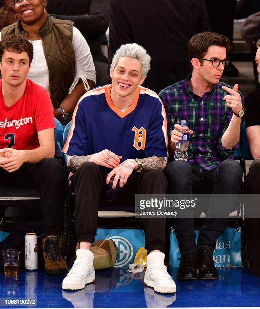Pete Davidson and John Mulaney attend New York Knicks vs Washington Wizards game at Madison Square Garden on December 3 2018 in New York City