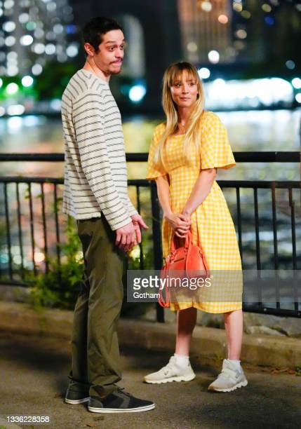 Pete Davidson and Kaley Cuoco on location for 'Meet Cute' on August 24, 2021 in New York City.