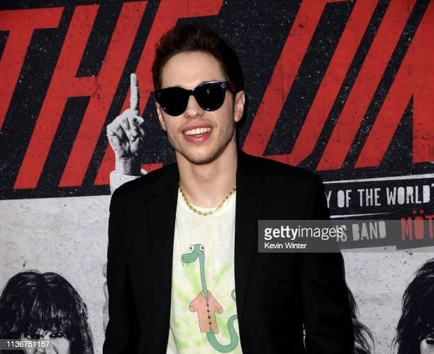 Pete Davidson arrives at the premiere of Netflix's The Dirt at ArcLight Hollywood on March 18 2019 in Hollywood California