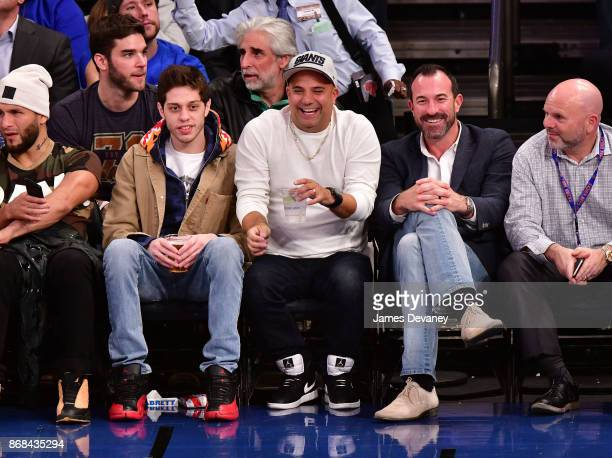 Pete Davidson guest and Mickey Callaway attend the Denver Nuggets Vs New York Knicks game at Madison Square Garden on October 30 2017 in New York City