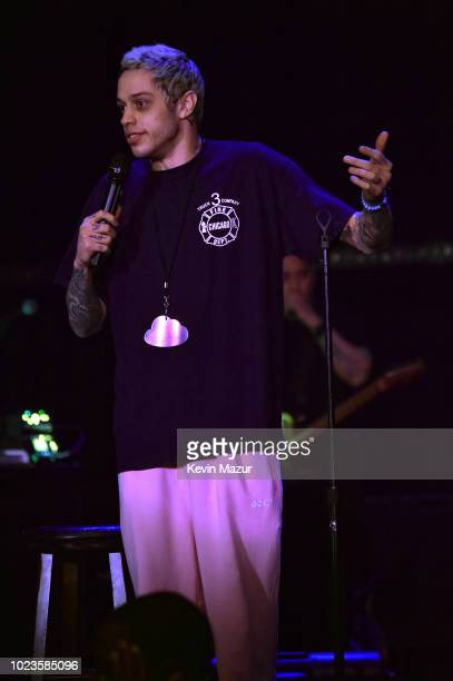 Pete Davidson speaks onstage at American Express and Ariana Grande present 'The Sweetener Sessions' at Ace Hotel on August 25 2018 in Los Angeles...
